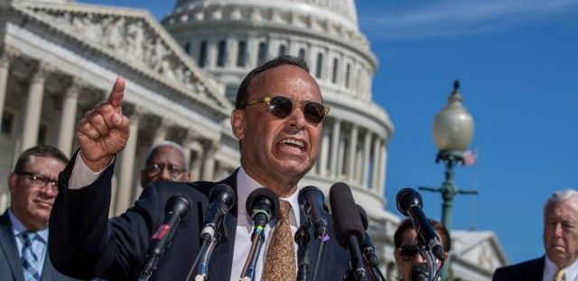 "Rep. Luis Gutierrez, D-Ill., a leading advocate in the House for immigration reform, joins supporters of ""dreamers"" as they mark the 6th anniversary of the announcement of the Deferred Action for Childhood Arrivals (DACA) program, on Capitol Hill in Washington, Friday, June 15, 2018."
