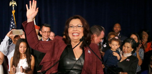 Sen.-elect Tammy Duckworth, D-Ill., celebrates her win over incumbent Sen. Mark Kirk, R-Ill., during her election night party, Tuesday, Nov. 8, 2016, in Chicago.