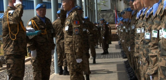 Mongolian peacekeepers guard the Special Court of Sierra Leone.