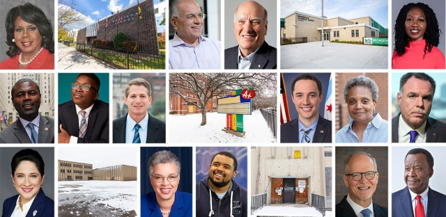 Headshots of Chicago's mayoral candidates interspersed with images of closed and newly opened schools in Chicago