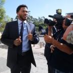 New York Knicks basketball player Derrick Rose arrives at U.S. District Court