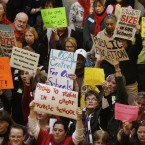 Teachers rallied at the Statehouse in Indianapolis in 2011 to protest Gov. Mitch Daniels' attempts to curb collective bargaining, implement merit pay and create a voucher system that would send taxpayer money to private schools.