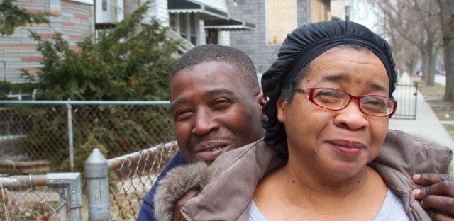 Englewood resident Ruthie Carpenter and her son Carl.  She said vacant houses attract break-ins and drug use, something she's seen on her block.