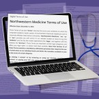 A computer with Northwestern Terms of Use on the screen, in front of a purple background overlaid with legal papers and a stethoscope
