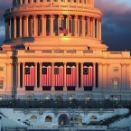 The sun sets on the West Front of the U.S. Capitol building ahead of inauguration ceremonies for President-elect Donald Trump on Wednesday.