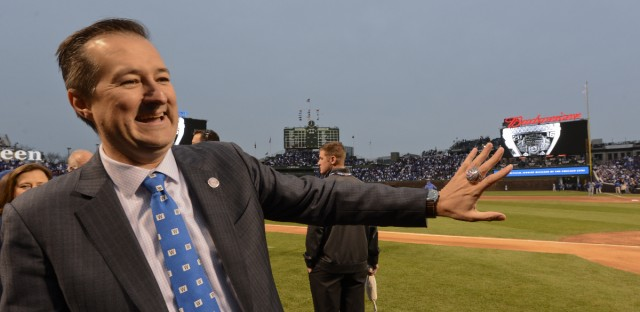 Chicago Cubs' Tom Ricketts, Chairman, shows off his ring as the team celebrates during the 2016 World Series championship ring ceremony before the team's baseball game against the Los Angeles Dodgers on Wednesday, April 12, 2017, in Chicago.