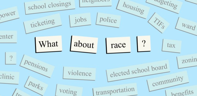 """A collection of words like """"school closings, housing, jobs, police"""" surrounding the question """"What about race?"""""""