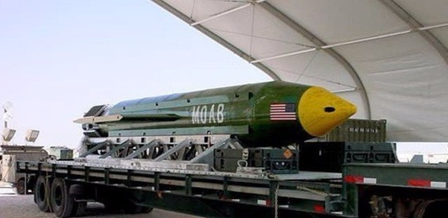 A photo provided by Eglin Air Force Base shows the GBU-43B Massive Ordnance Air Blast bomb. The Pentagon says U.S. forces in Afghanistan dropped the military's most powerful non-nuclear bomb on an Islamic State target on Thursday, the first-ever combat use of the weapon.