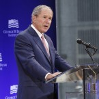 Former President George W. Bush speaks at a forum in New York, where he criticized the kind of politics that gave rise to Trump.