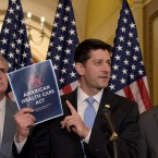 House Speaker Paul Ryan of Wis., center, standing with Energy and Commerce Committee Chairman Greg Walden, R-Ore., right, and House Majority Whip Kevin McCarthy, R-Calif., left, speaks during a news conference on the American Health Care Act on Capitol Hill in Washington, Tuesday, March 7, 2017.