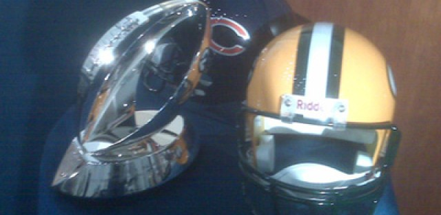 Photo: The redesigned Halas trophy. Which helmet wants it more?