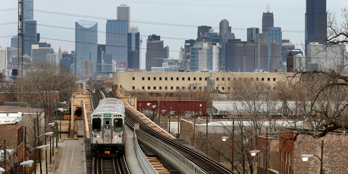 CTA train with Chicago skyline background