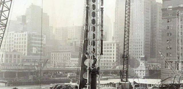 The foundation of Marina City in 1961.