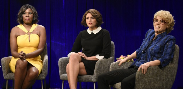 Aidy Bryant moderates a film panel sketch featuring Leslie Jones as Viola Davis, Cecily Strong as Marion Cotillard, and Kate McKinnon as Debette Goldry, that rips into Weinstein's alleged history of sexual abuse.
