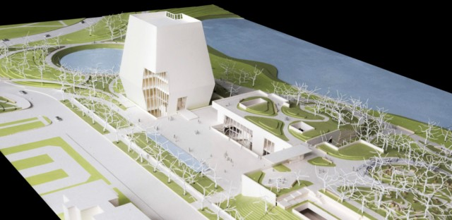 This conceptual drawing released, Wednesday, May 3, 2017, by the Obama Foundation, shows plans for the proposed Obama Presidential Center that will be located in Jackson Park on Chicago's South Side. This view looks north showing the Museum, Forum and Library. The Museum is the tallest structure on site.