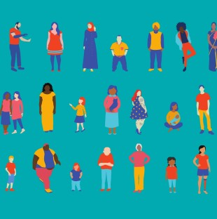 An illustration of a variety of people on a teal background