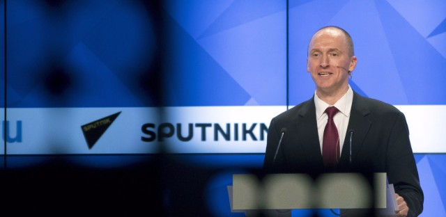 Carter Page, a former foreign policy adviser of President Donald Trump, speaks at a news conference at the RIA Novosti news agency in Moscow in December. Page said he was in Moscow to meet with businessmen and politicians.