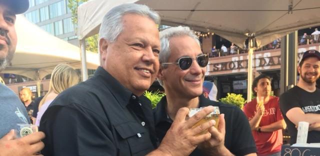 Mayor of Comerio, Puerto Rico, Josian Santiago, with Chicago Mayor Rahm Emanuel