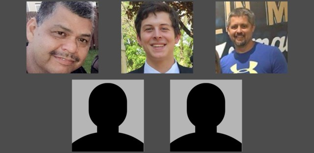 The victims of Friday's shooting in Aurora clockwise from left, Vicente Juarez, Trevor Wehner and Josh Pinkard. Russell Beyer and Clayton Parks not shown.