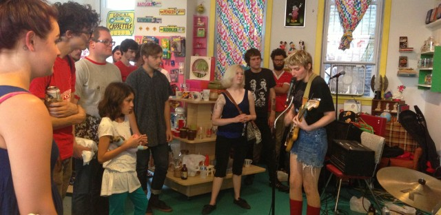 Jesse Rose Crane of The Funs plays on Cassette Store Day at Bric-A-Brac Records.