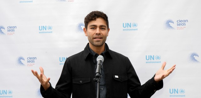 United Nations Environment Goodwill Ambassador Adrian Grenier delivers remarks before helping AVAAZ deliver a petition signed by over one million people urging action to reduce plastic pollution in the world's oceans, Tuesday, June 6, 2017, at U.N. Headquarters.
