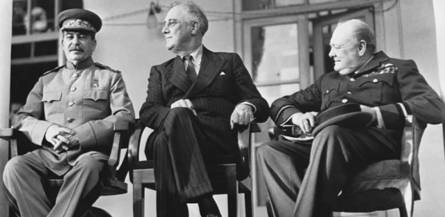 Josef Stalin, Franklin Delano Roosevelt and Winston Churchill at the 1943 Tehran Conference.