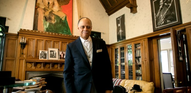 Third World Press founder Haki Madhubuti stands in his office in Chicago's Greater Grand Crossing neighborhood. The company remains one of the country's oldest — and largest — independent black -publishing companies.
