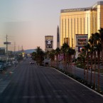 Las Vegas Blvd. remained closed to traffic early Tuesday, near the scene of Sunday night's mass shooting in Las Vegas, Nevada. Drew Angerer/Getty Images