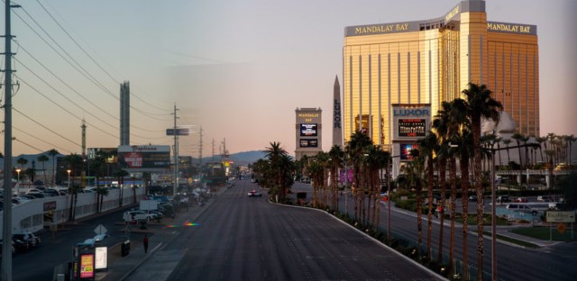 Las Vegas Blvd. remained closed to traffic early Tuesday, near the scene of Sunday night's mass shooting in Las Vegas, Nevada. (Drew Angerer/Getty Images)