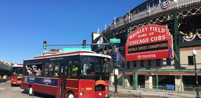 The Chicago Cubs depart Wrigley Field for a World Series parade Nov. 4, 2016. Andrew Gill/WBEZ