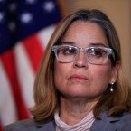 San Juan, Puerto Rico Mayor Carmen Yulín Cruz, attends a House Democratic Leaders news conference with Democratic Caucus Chairman Rep. Joe Crowley, D-N.Y., on Capitol Hill in Washington, Wednesday, Nov. 1, 2017.