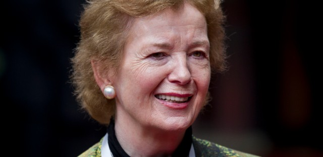 Then-U.N. special envoy for Africa's Great Lakes region Mary Robinson at the United Nations Office in Nairobi, Kenya in July 2013.  (AP Photo/Ben Curtis)
