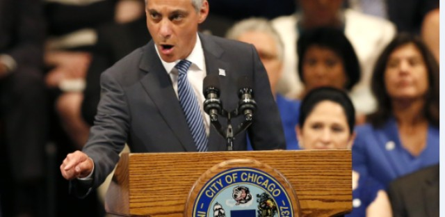 Chicago Mayor Rahm Emanuel delivers his inaugural address for a second term during city government inaugural ceremonies Monday, May 18, 2015, in Chicago. Emanuel said he will spend the next four years focusing on strong schools, safe streets and stable finances.