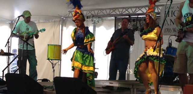 Chicago Samba entertains a crowd at Lakeview's Mayfest.