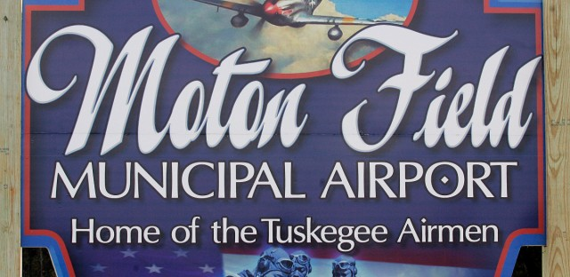 This is the welcoming sign at the entrance to Moton Field, site of the Tuskegee Airmen National Historic Site in Tuskegee, Alabama.