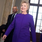 Former Secretary of State Hillary Clinton and John Podesta arrive for a portrait unveiling ceremony for retiring Senate Minority Leader Harry Reid, D-Nev., last week.