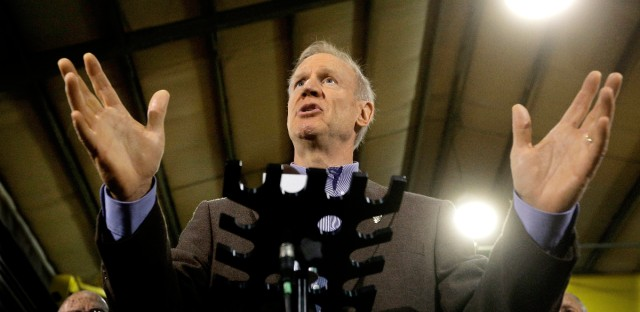 In this May 19, 2016 file photo, Illinois Gov. Bruce Rauner speaks to reporters in Springfield, Ill. The politically heightened atmosphere of Springfield this year is a major reason Illinois doesn't have a state budget nearly 11 months into the fiscal year. It's also why there likely won't be a deal for next year before lawmakers adjourn their spring session on Tuesday, May 31, 2016. Both sides are acting with a constant eye on the November election, and whether Republicans can deflate House Speaker Michael Madigan's Democratic ranks.