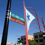 A sign honoring for Puerto Rican nationalist Oscar Lopez Rivera hangs on a street in Chicago's Humboldt Park on May 18, 2017.