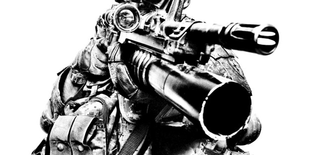 Spc. Patrick Quinn, of the 1st Stryker Brigade Combat Team, wears night vision goggles. First made available to the U.S. Army in 1959, night vision goggles form images by detecting discrepancies in temperature between objects. Fort Irwin, 2008.