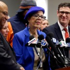 Chicago Teachers Union president Karen Lewis, center, speaks at a news conference on Wednesday, March 23, 2016, in Chicago. The Chicago Teachers Union has voted approve a one day walkout on April 1, 2016.