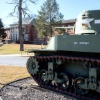 Military equipment is scattered around the grounds of the Illinois Veterans Home in Quincy.
