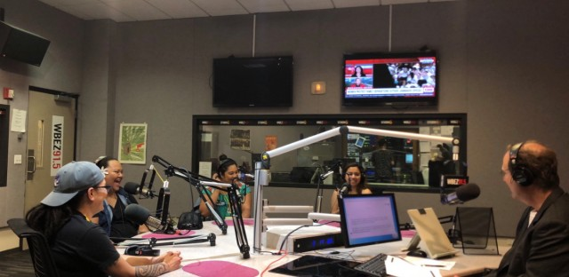 """Not One Batu"" (L-R) playwright Hannah Ii-Epstein and actors, Lelea'e ""Buffy"" Kahalepuna-Wong (Ma), Marie Tredway (Honey Girl), and Gloria Alvarez (Sherrie) at the WBEZ studio"