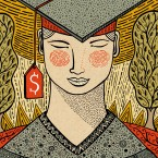 Illustration of graduate with a dollar sign tassle