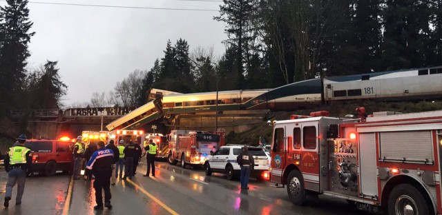 "An Amtrak train derailed south of Seattle and fell partly onto Interstate 5, where authorities initially reported ""injuries and casualties."" Three deaths have have since been confirmed."