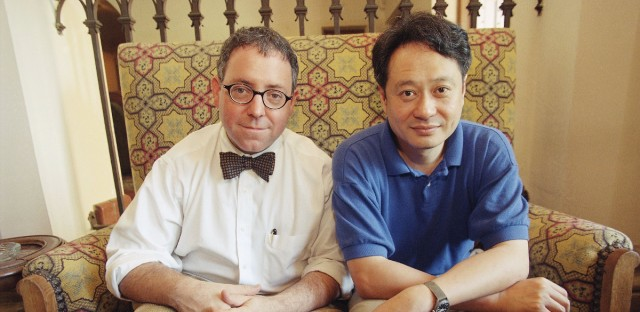 James Schamus, left, and Ang Lee, director and writer, respectively, of the new movie, ?The Ice Storm,? pose during a break from interviews at the Chateau Marmont in the Hollywood district of Los Angeles on Thursday, Sept. 18, 1997. The film ?is a combination of innocence and loss. It?s a coming-of-age story, more for the adults than for the children,? Lee says.