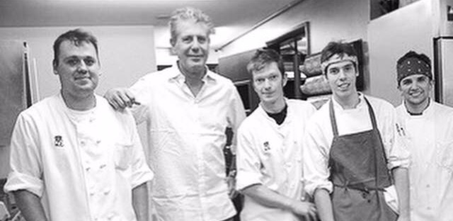 Chef Homaro Cantu at Moto with kitchen staff and Anthony Bourdain