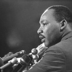 """Dr. Martin Luther King Jr., tells a press conference in Chicago, March 24, 1967 that civil rights demonstrations in Chicago """"…will be on a much more massive scale than last summer."""" King said marches will include some by African American pupils to all-white schools."""