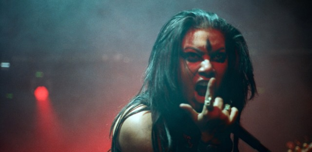 Actress Jessica Pimentel from 'Orange Is The New Black' singing in her death metal band, Alekhine's Gun. Photo by Chris Denman.