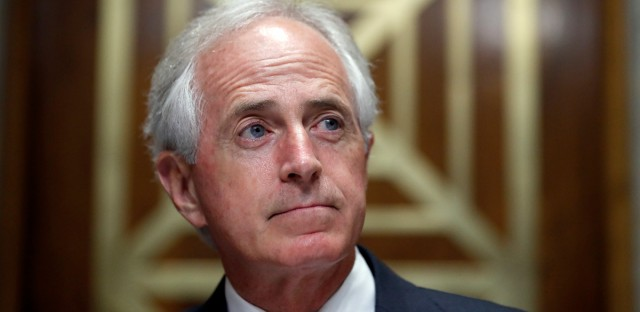 Chairman Bob Corker, R-Tenn., pauses before a hearing of the Senate Foreign Relations Committee on the nomination of former Utah Gov. Jon Huntsman to become the US ambassador to Russia, on Capitol Hill, Tuesday, Sept. 19, 2017 in Washington.