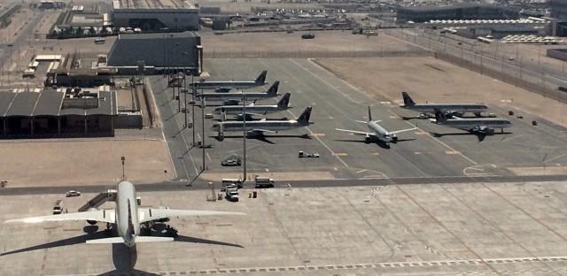 Parked Qatari planes in Hamad International Airport